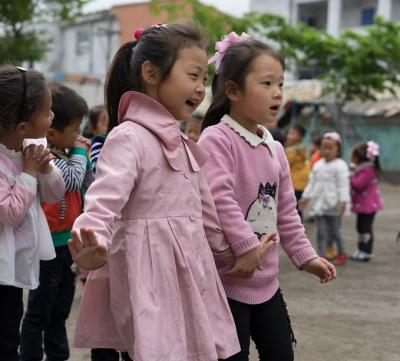 girls playing in a school playground