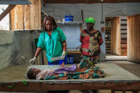 -year-old Deborah who was rushed to the hospital a few hours earlier by her grandmother Fitina with symptoms of cholera.