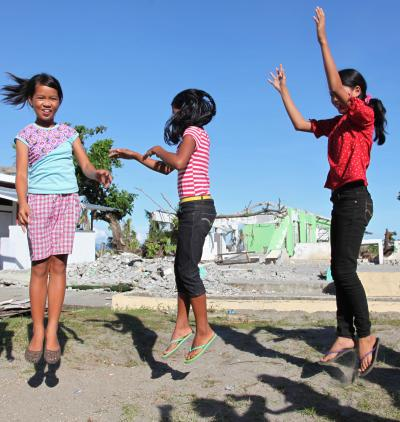 girls jumping in the philippines