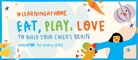 Learning at home challenge banenr with Eat Play Love slogan