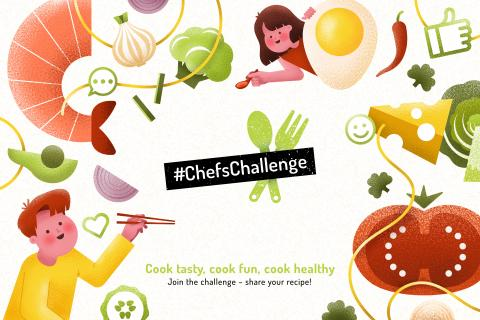 Chefs challenge graphic with animations of food and young people