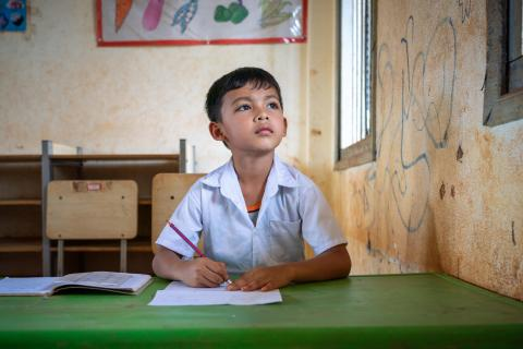Portrait of 6-year-old Ven Mon Vuth, from Trom Village, Laminh Commune, Borkeo District, Rattanakiri, Cambodia, in school