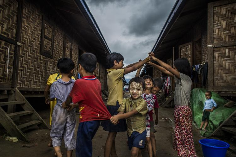 Children in Myanmar play together