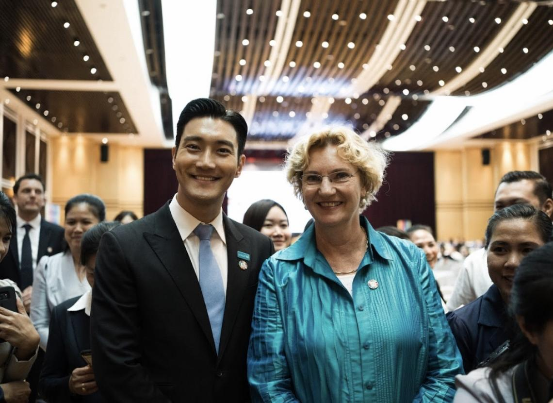 Karin Hulshof with Siwon Choi for UNICEF