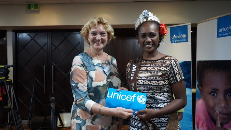 UNICEF EAPRO DIrector Karin Hulshof welcomes Leoshina Kariha as a UNICEF Youth Advocate