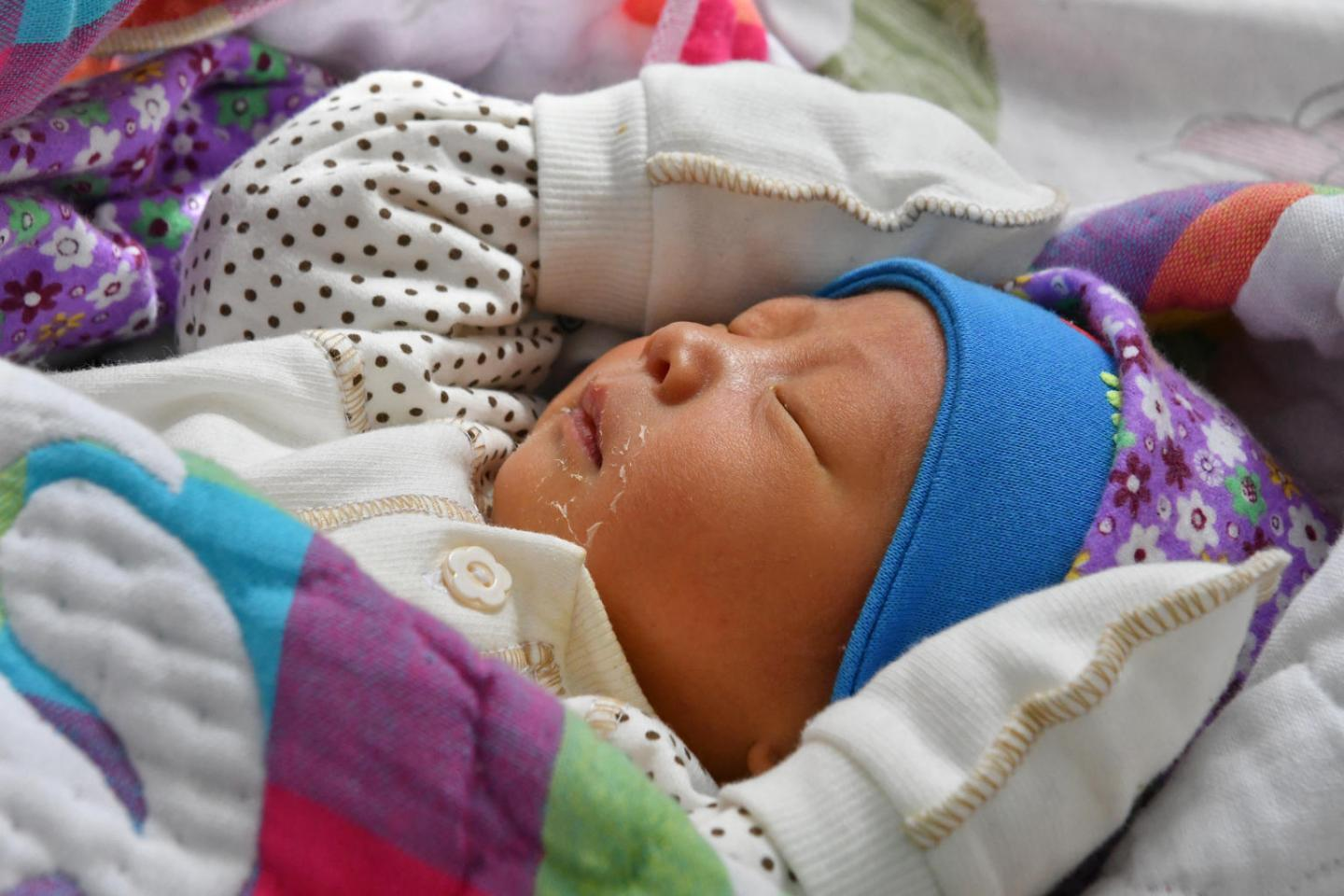 A newborn baby in a hospital in Kyrgyzstan that was entirely rehabilitated by UNICEF.