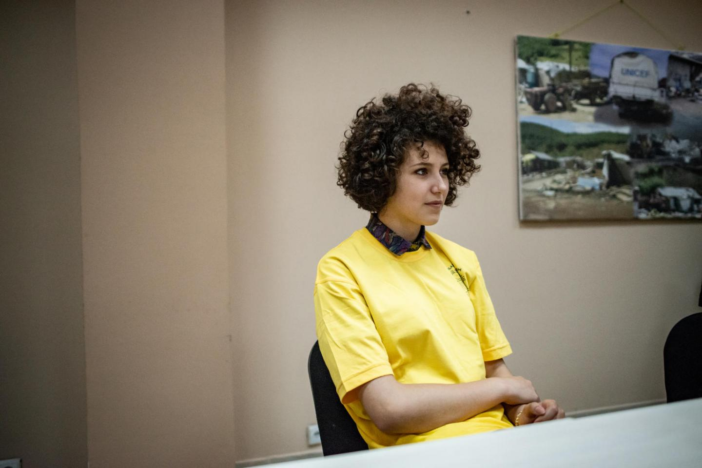 Snezana Dzogovic, 16, poses for a portrait at the Peer Mediation Center of Domovik NGO, in Mitrovica North.