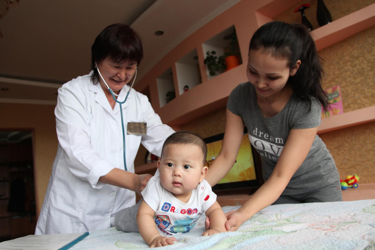 Patronage nurses visit families with infants from 0 to 1 year old in Oskemen city, East Kazakhstan Oblast, Kazakhstan.