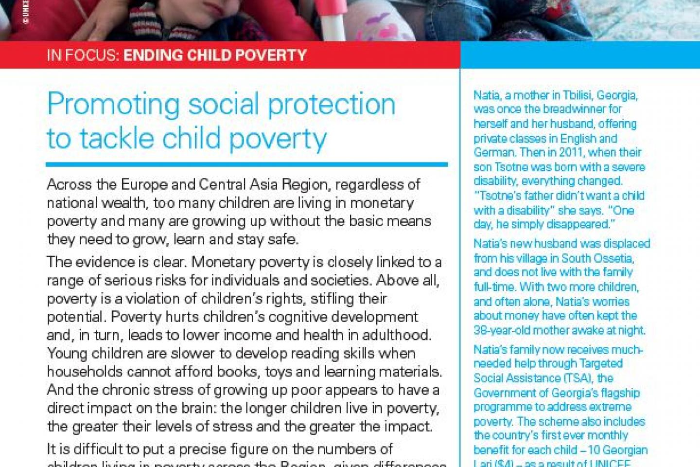 In Focus: Ending Child Poverty | UNICEF Europe and Central Asia