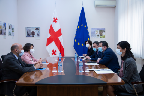 Ms Afshan Khan, UNICEF Regional Director for Europe and Central Asia, is discussing child rights issues and needs of vulnerable children with offical representatives of Georgia.