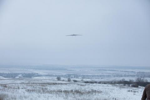Test launch of a drone in Zhambyl district, Almaty province, Kazakhstan.