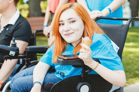 Iryna Soroka, 24, presenting her social project for people living with disabilities, at the UPSHIFT Festival in Kharkiv, Ukraine, on 30 May 2019.