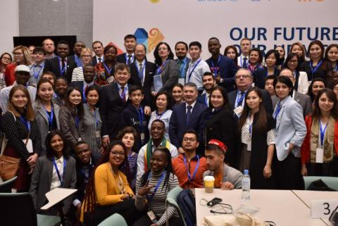 Youth form around the world at the Global Conference on Primary Health Care, Astana, 2018.