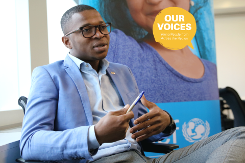 Kader Diabate giving an interview at the UNICEF Europe and Central AsiaOffice.