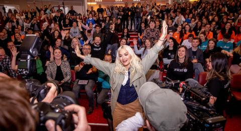UNICEF UK High Profile Supporter Rita Ora surprises more than 400 children and young people at UNICEF Kosovo's Activate event in Prishtina.