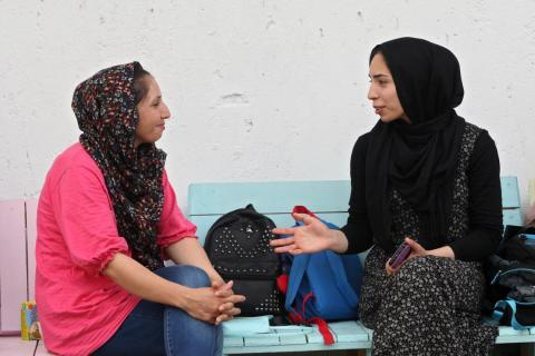 Friendship between Jasmin (on the left) and Fatima (on the right) from Afghanistan started in the Women's Centre.