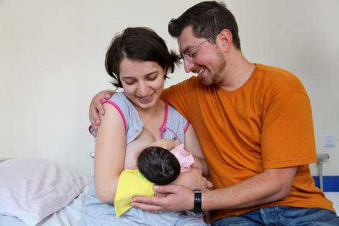 A mother and a father with new born baby in Yerevan