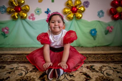 Nazerke, age 5, poses for a portrait at kindergarten 'Bopezhan' in Kyzylorda, Kazakhstan, on 13 March 2018.
