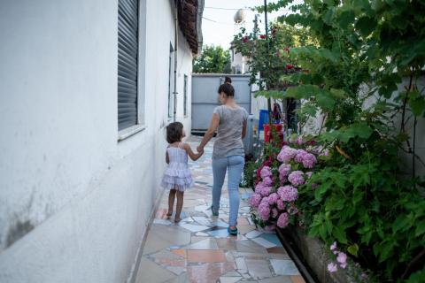 Jeta, 24, prepares her daughter Fabliona, 4, for the kindergarten, in the apartment she rents in Tirana, Albania, on June 7, 2018.