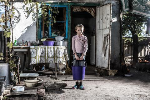 On 21 September 2018 in Ukraine, Sasha Shapovalenko, 9, at home in Bakhmutka in the Donetsk Region.