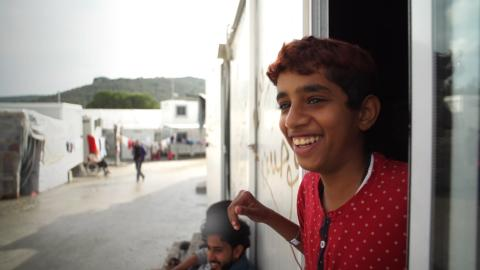 Osama, 12, at the Moria Refugee Reception and Identification Centre, Lesvos, Greece.