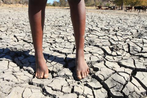 Feet standing on a cracked river bed in Zimbabwe