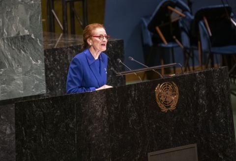 UNICEF Executive Director Henrietta H. Fore addresses a global summit at United Nations Headquarters in New York