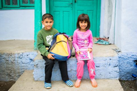 Dana, 6 year old and Alexandru, 7 years old. The family is supported by the social worker and community nurse in Colonesti, Bacau County, Romania.