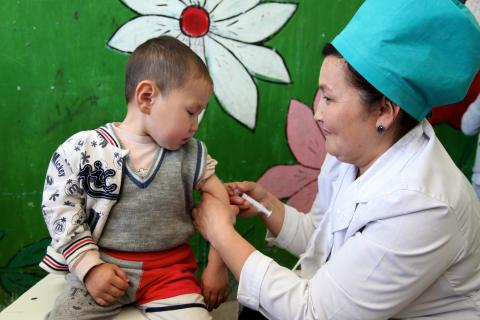 "Measles immunisation at Kindergarten ""Kyal"" #13, Osh city, Osh Oblast, South of Kyrgyzstan"