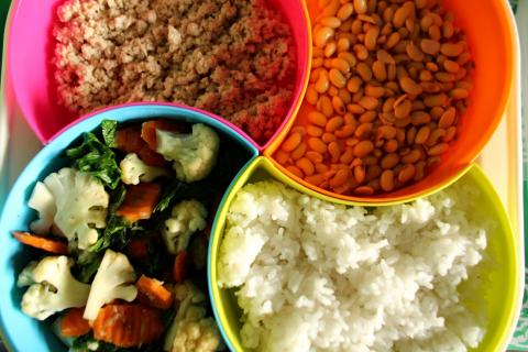 Cooked rice, vegetables, meat and beans in multi-coloured plastic bowls.