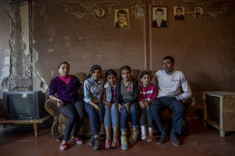 Mkrtich Hovhannisyan, 44, and his wife Hasmik Badalyan, 46, with their four daughters in Gavar, Armenia