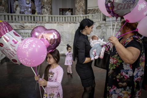 Svetlana with her three daughters at the Margaryan Maternity Hospital, in Yerevan,