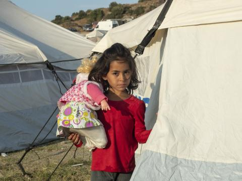Refugee girl in Greece