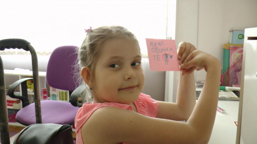 Darya, 7 years old, a girl living with Spina Bifida in Bulgaria.