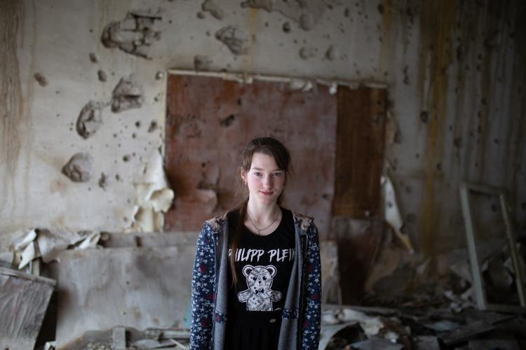 Sonia, 14, has experienced numerous attacks in and on her way to school in eastern Ukraine.