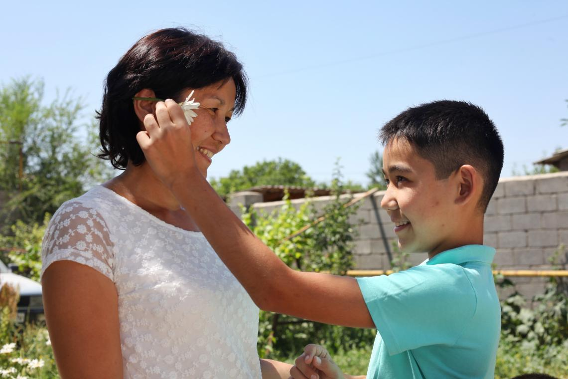 Baurzhan and his mother at their home in Kazkhstan.