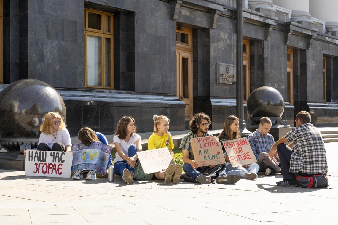 Young climate change activists in Kyiv