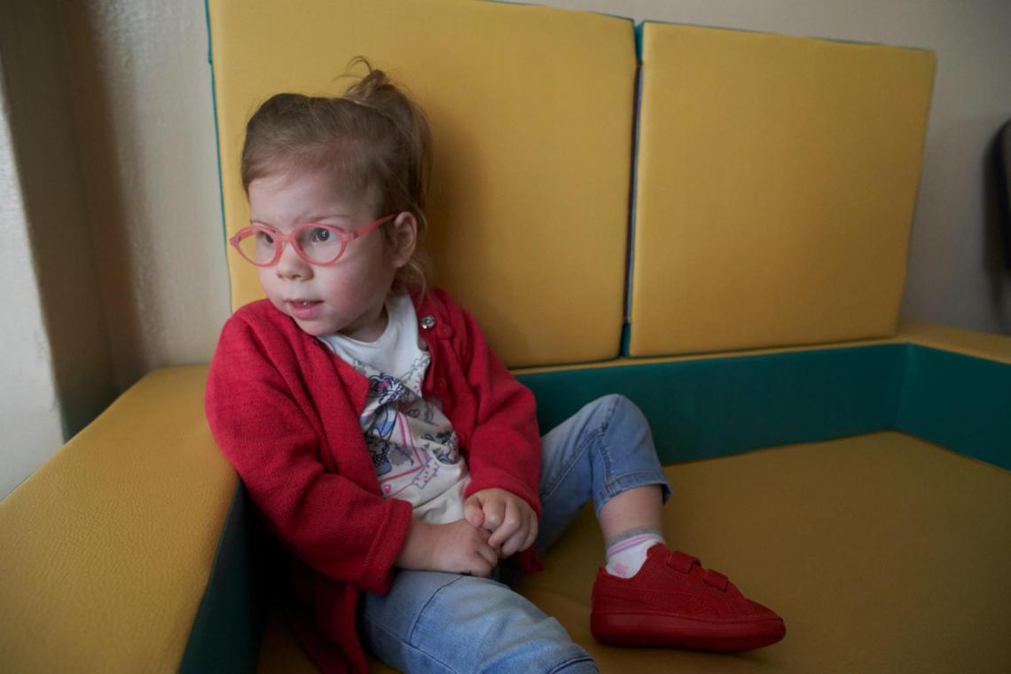 Agatha, 3, visits an early intervention center in Minsk, Belarus.