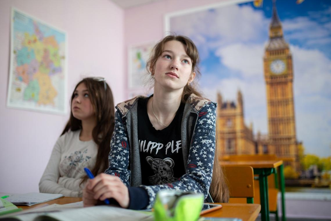 Sonia, 14 years old, in her classroom at Novotoshkivske school, eastern Ukraine.