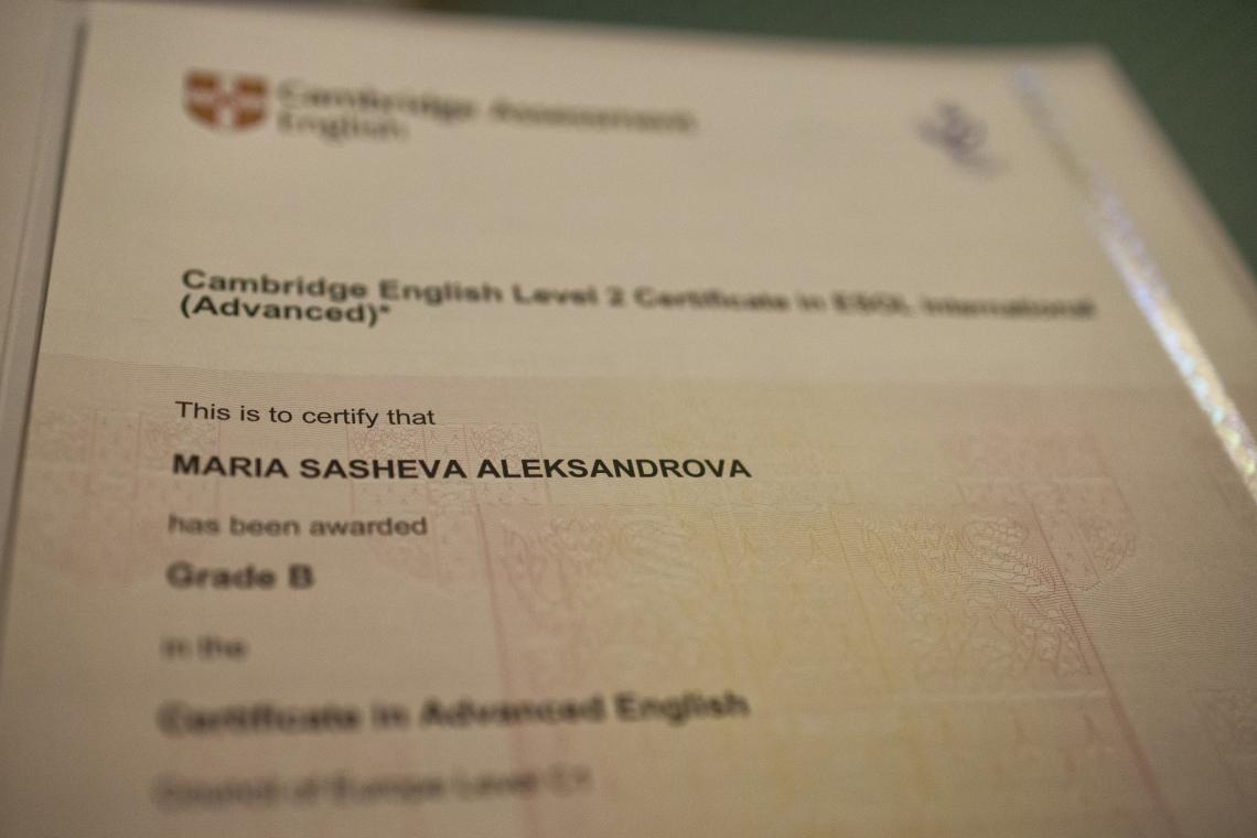 Maria's Certificate of Advanced English from Cambridge University.