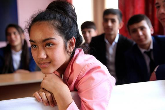 Students attend a networking meeting at a school in a village in Tajikistan.