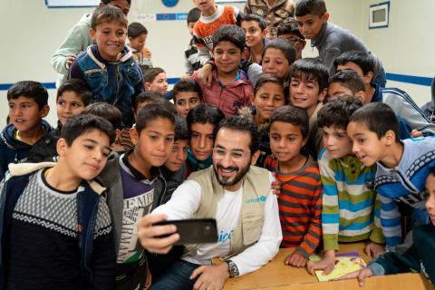 Actor and UNICEF Ambassador Ahmed Helmy meets Syrian refugee children in Jordan