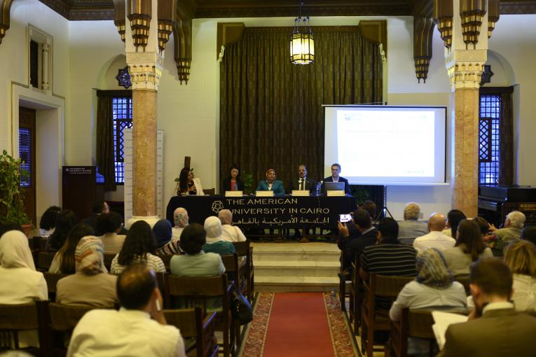 "A seminar entitled ""Overcoming youth unemployment in Egypt"" was held on Sunday, October 20th at the American University in Cairo's Tahrir Campus. The seminar was jointly organized by the Abdul Latif Jameel Poverty Action Lab (J-PAL) and the United Nations Children's Fund (UNICEF), and was made possible with the support of Allianz Egypt."