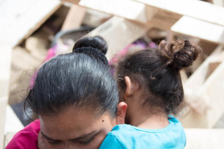 Mother and daughter at the shelter for migrant families of Embajadores de Jesús, Tijuana, Baja California, Mexico, on April 14, 2021.