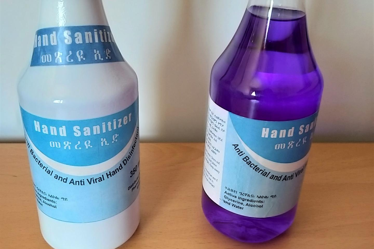 Bottles of hand sanitizers