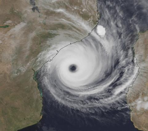 Satellite view of a cyclone