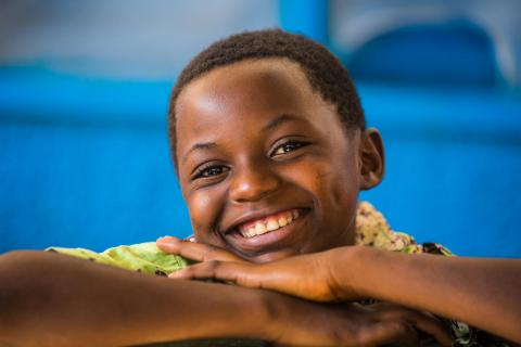 A healthy boy poses for the camera at the Health Centre in Kananga, Kasai-Occidental province, Democratic Republic of Congo (DRC), 19 October 2018