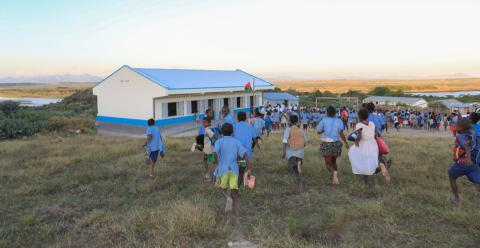 Children running to go to the new classroom in secondary school of Berano, Madagascar.