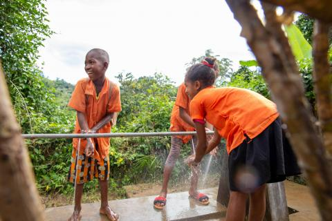 Students at Madagasar washing their hands