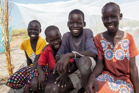 A group of smiling children in South Sudan